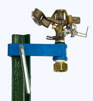 T Post Sprinkler, Orbit Half Inch Adjustable Pattern, Brass Impact Sprinkler